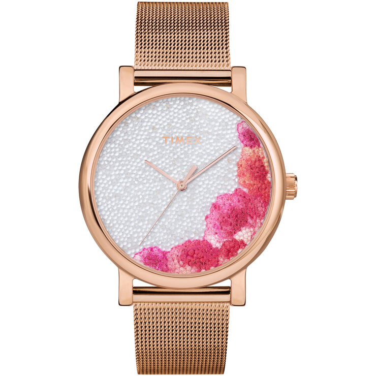 Timex Full Bloom 38mm Floral Rose Gold Crystal SS