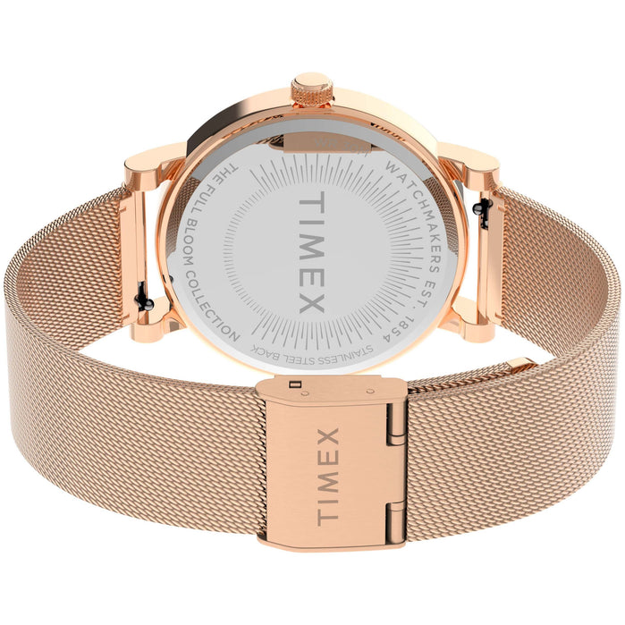 Timex Full Bloom 38mm Floral Rose Gold Crystal SS angled shot picture