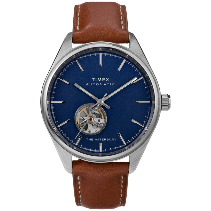 Timex Waterbury Traditional 42mm Automatic Open Heart Blue Brown