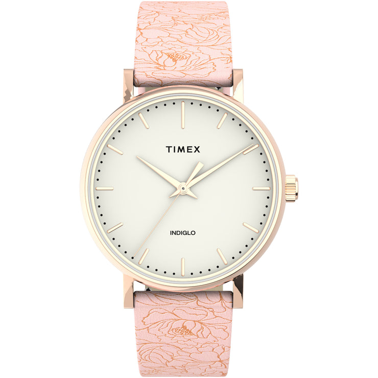 Timex Fairfield Floral 37mm Pink Ivory