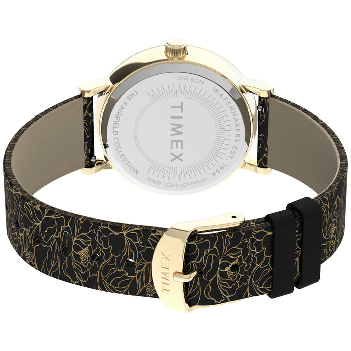 Timex Fairfield Floral 37mm Gold Black angled shot picture