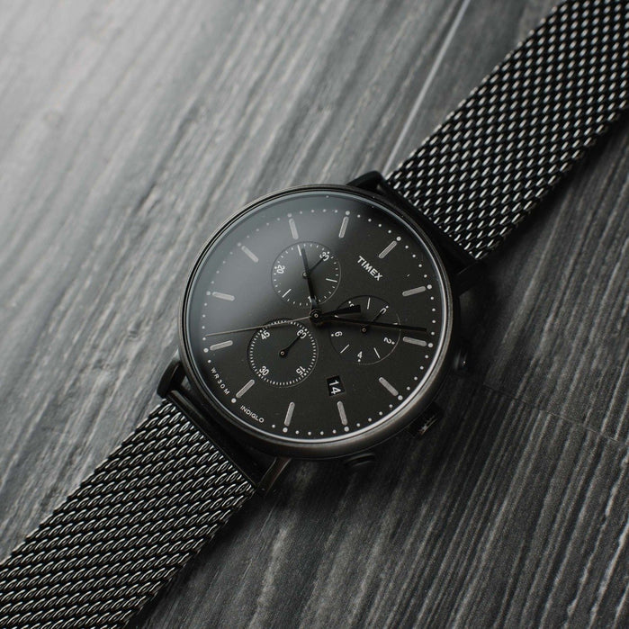 Timex Fairfield Chrono Black Mesh angled shot picture