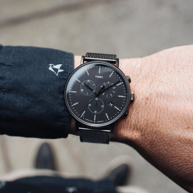 Timex Fairfield Chrono Black Mesh