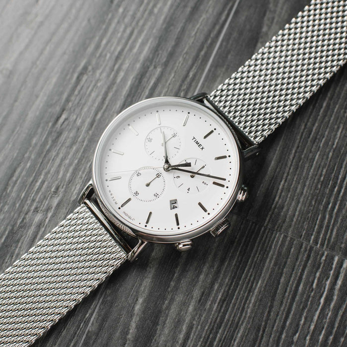 Timex Fairfield Chrono Silver Mesh angled shot picture