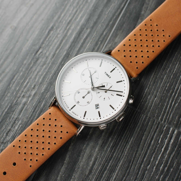 Timex Fairfield Chrono Leather White Brown angled shot picture
