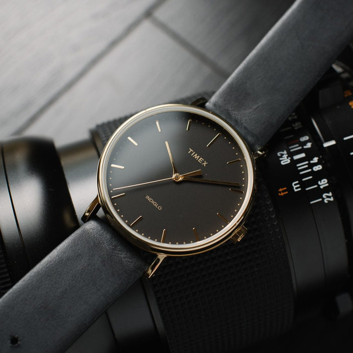 Timex Fairfield Three Hand Gold Black angled shot picture