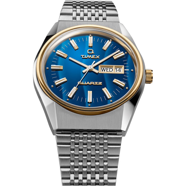 Timex Q Falcon Eye 1979 Reissue 38mm Silver Gold Blue