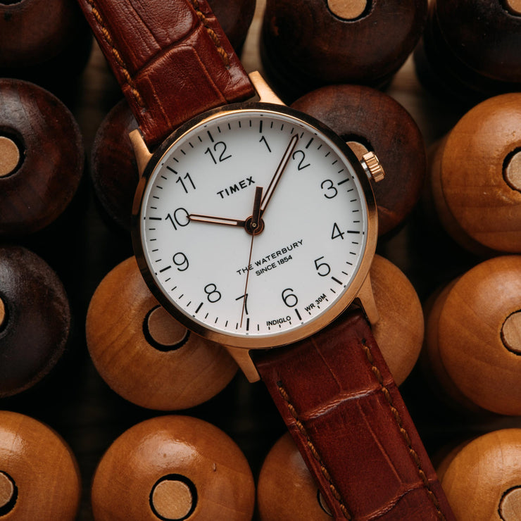Timex Waterbury Classic 36mm Rose Gold Brown