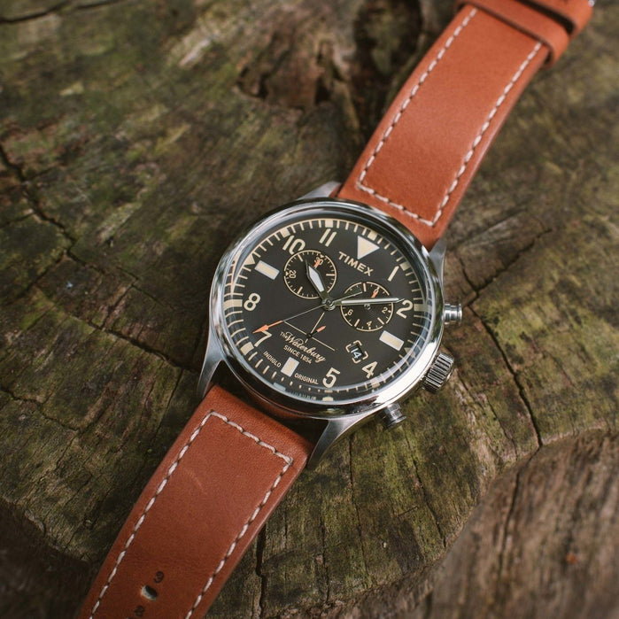Timex Waterbury Traditional Redwing Chrono Black Brown angled shot picture