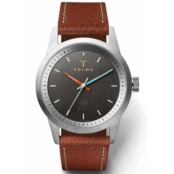 Triwa TIO Silver Brushed Grey Automatic Limited Edition angled shot picture
