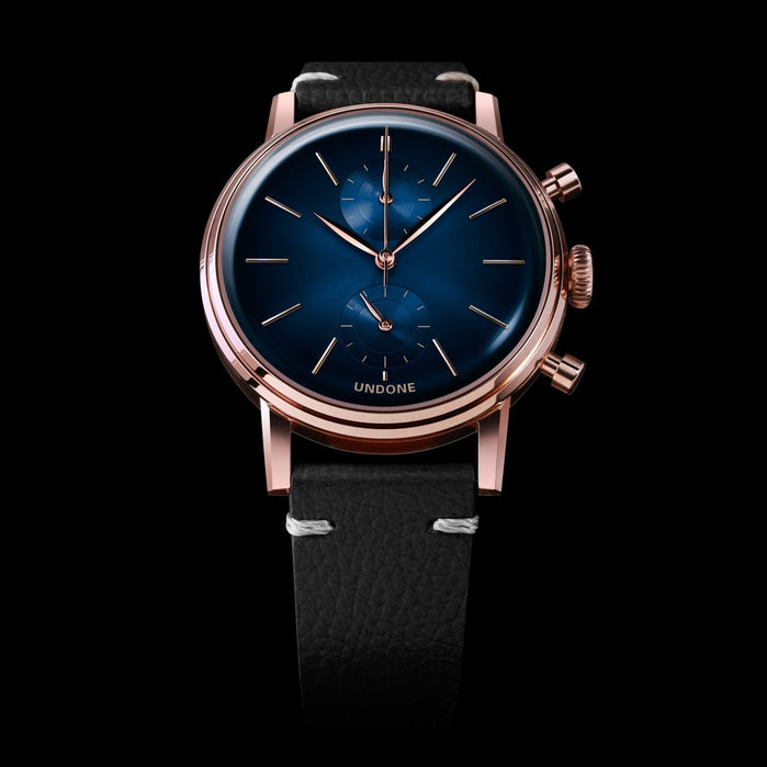 Undone Mystique Chrono Mercury Blue Rose Gold angled shot picture