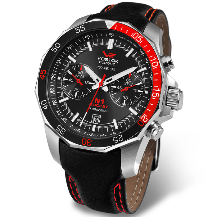 Vostok-Europe N1-Rocket Chrono Silver Black Red angled shot picture