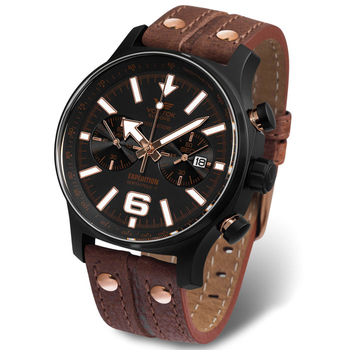 Vostok-Europe Expedition North Pole Chrono Black Brown angled shot picture
