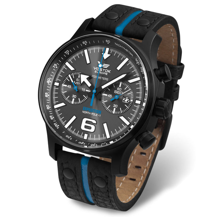 Vostok-Europe Expedition North Pole Chrono Black Blue angled shot picture