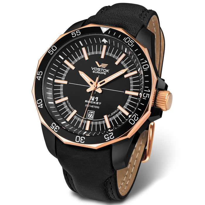 Vostok-Europe N1-Rocket Automatic Rose Gold Black angled shot picture