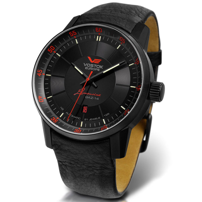 Vostok-Europe Gaz-14 Limousine Automatic 45mm Black Red angled shot picture