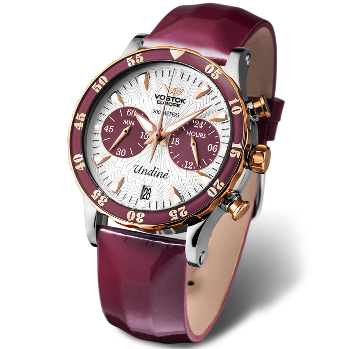 Vostok-Europe Undine Chrono 39mm Silver Burgundy angled shot picture