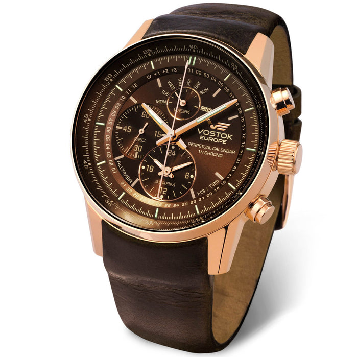 Vostok-Europe Gaz-14 Limousine Perpetual Calendar 45mm Rose Gold Brown angled shot picture