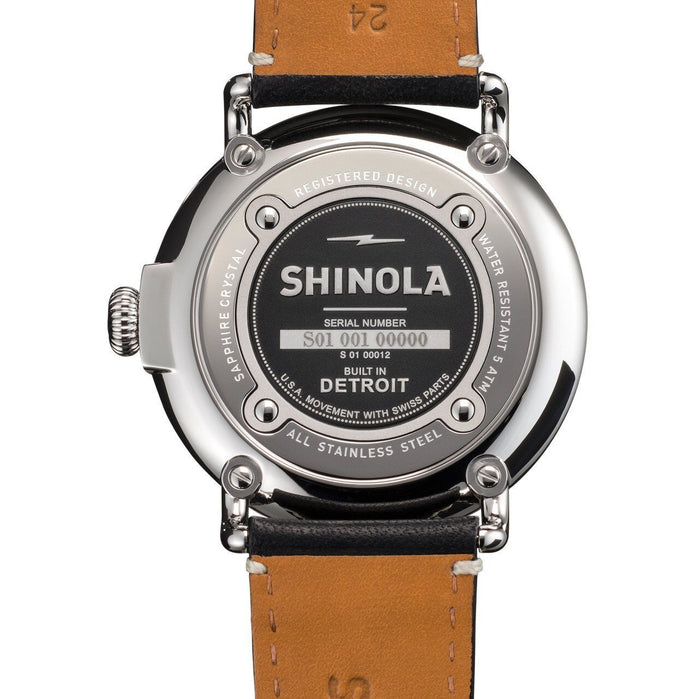Shinola Runwell 47mm, Black Dial Black Leather Strap angled shot picture