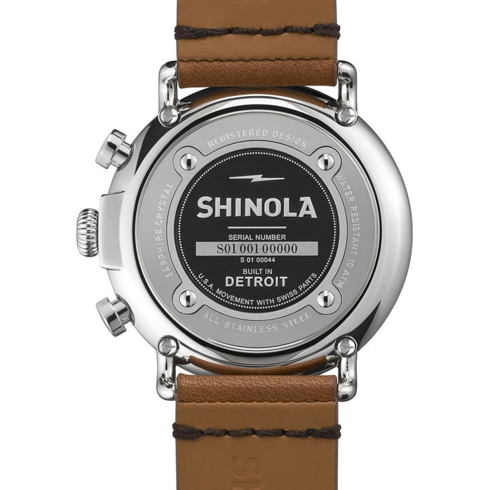 Shinola Runwell Chrono 47mm Tan Leather Strap angled shot picture