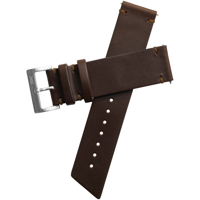 Xeric 22mm Horween Beaufort Leather Brown Strap Silver Buckle angled shot picture