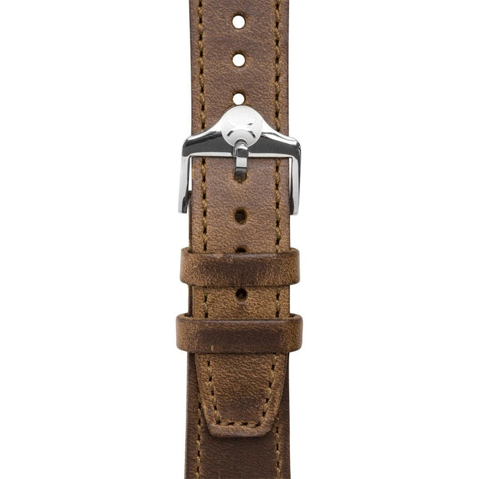 Xeric 20mm Horween Full Stitched Brown Leather Strap angled shot picture