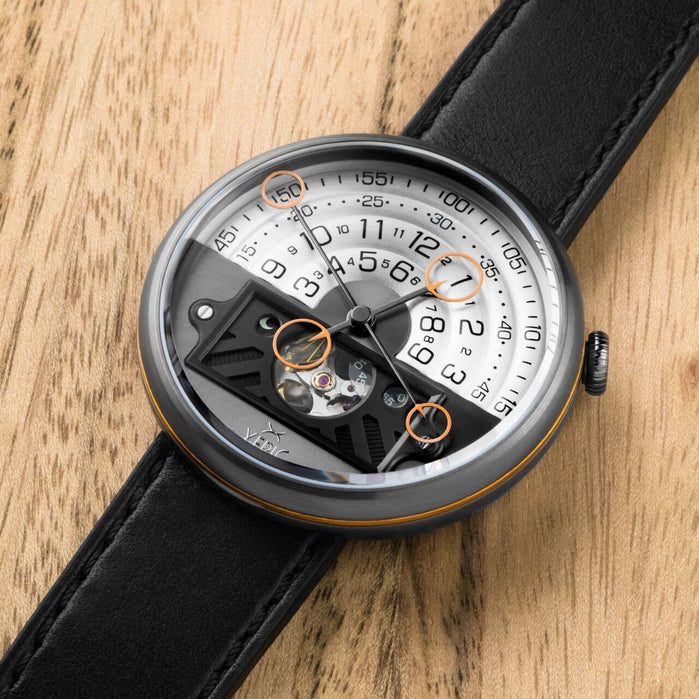 Xeric Halograph II Automatic Gunmetal Orange Limited Edition angled shot picture
