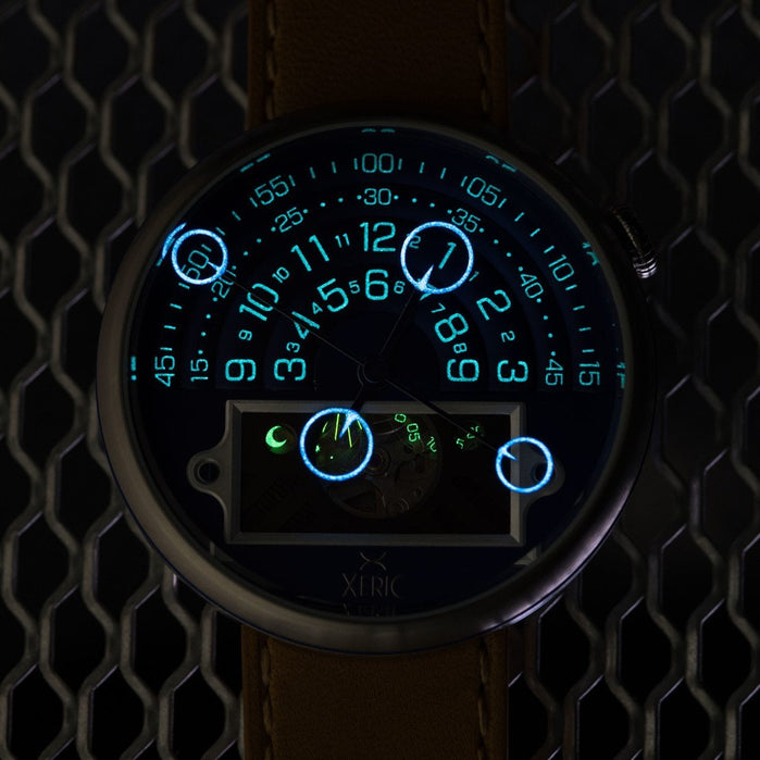 Xeric Halograph II Automatic Navy Tan Limited Edition angled shot picture