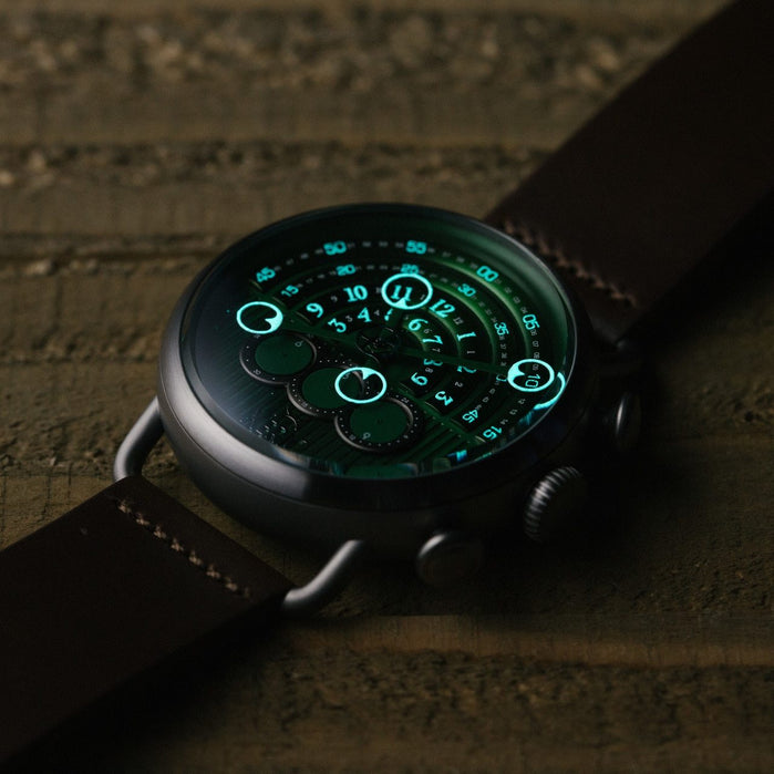 Xeric Halograph Chrono Sapphire Gunmetal Green angled shot picture