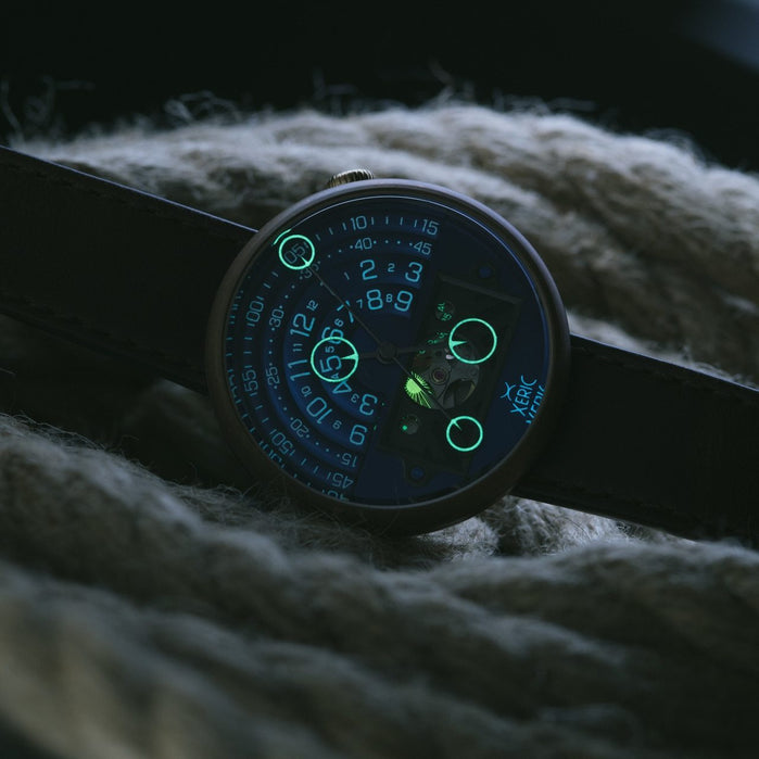 Xeric Halograph II Automatic Bronze Blue Limited Edition angled shot picture
