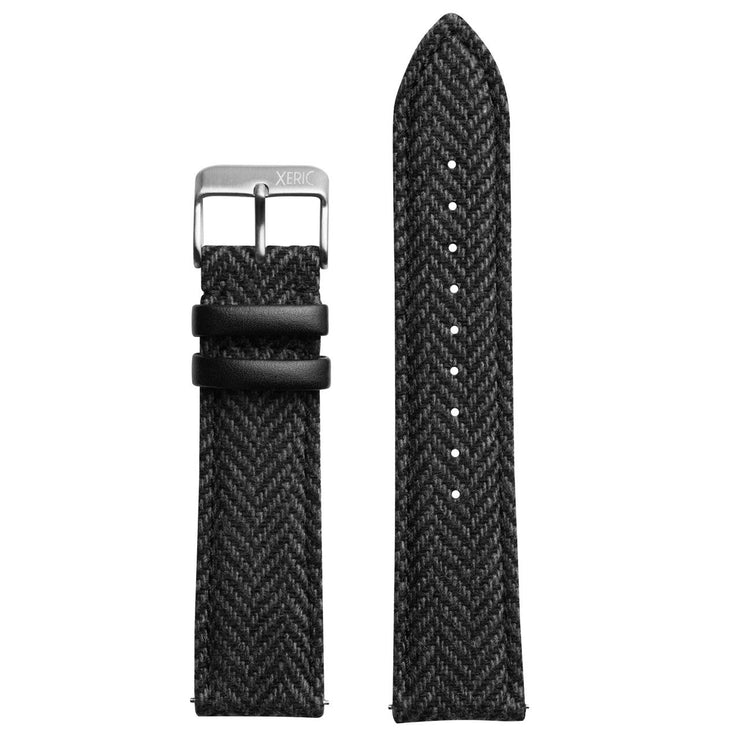Xeric 20mm Herringbone Tweed Black Strap Silver Buckle
