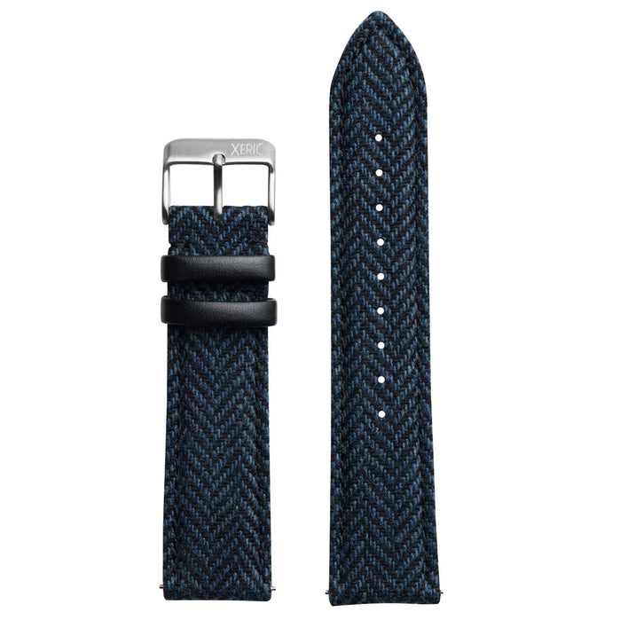 Xeric 20mm Herringbone Tweed Blue Strap Silver Buckle angled shot picture