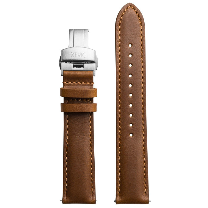 Xeric 20mm Horween Chromexcel Leather Tan Strap Silver Deployant Clasp angled shot picture