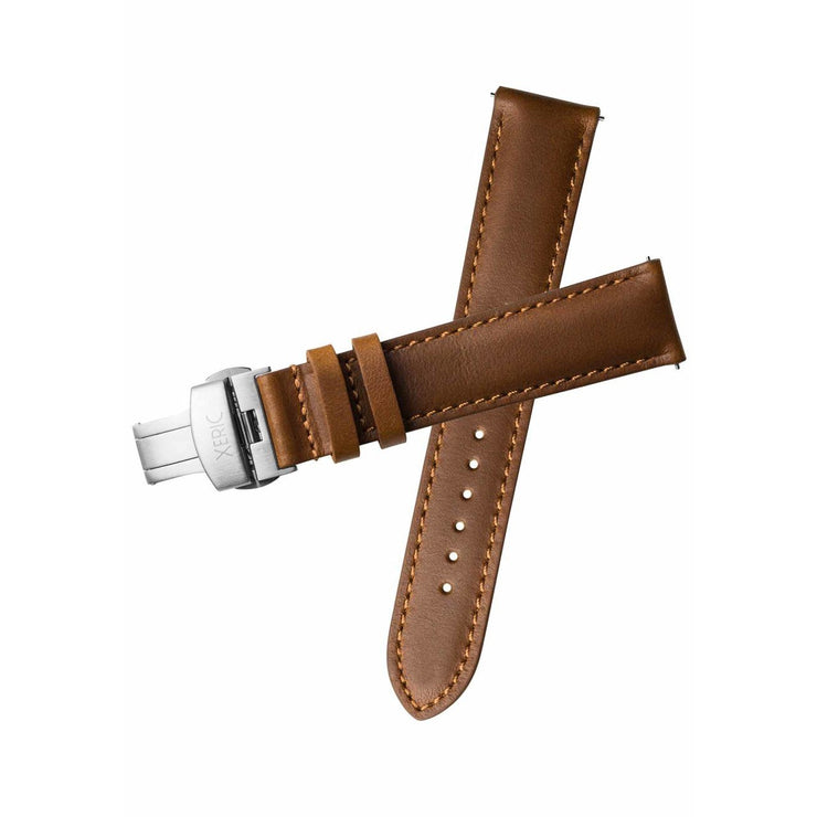 Xeric 20mm Horween Chromexcel Leather Tan Strap Silver Deployant Clasp