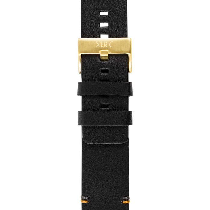 Xeric 24mm Smooth Black/Gold Leather Strap angled shot picture