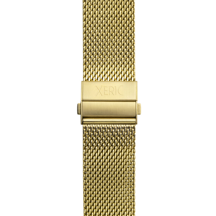 Xeric 20mm Gold PVD Mesh Bracelet with Deployant Clasp