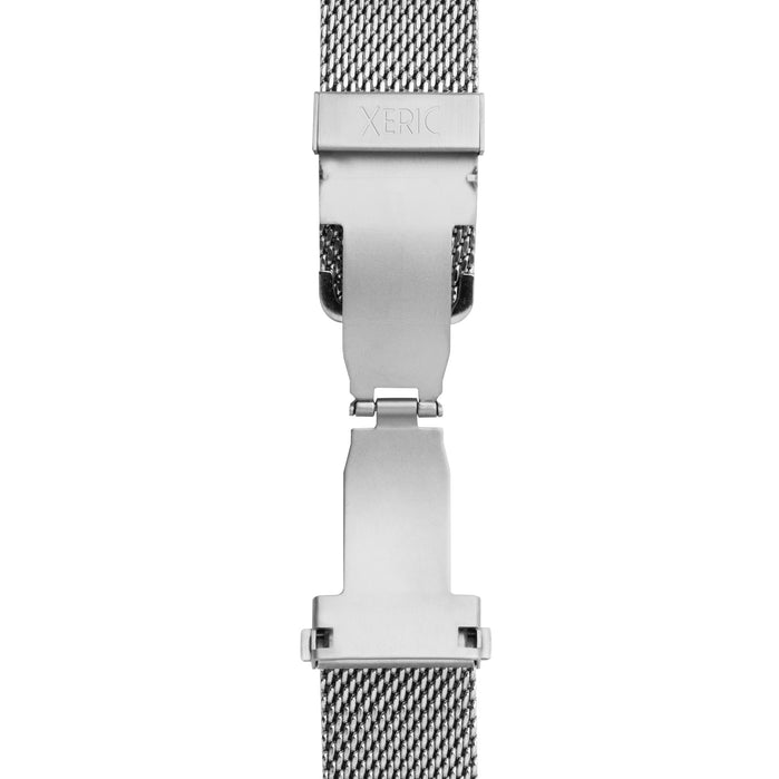 Xeric 20mm Silver PVD Mesh Bracelet with Deployant Clasp angled shot picture