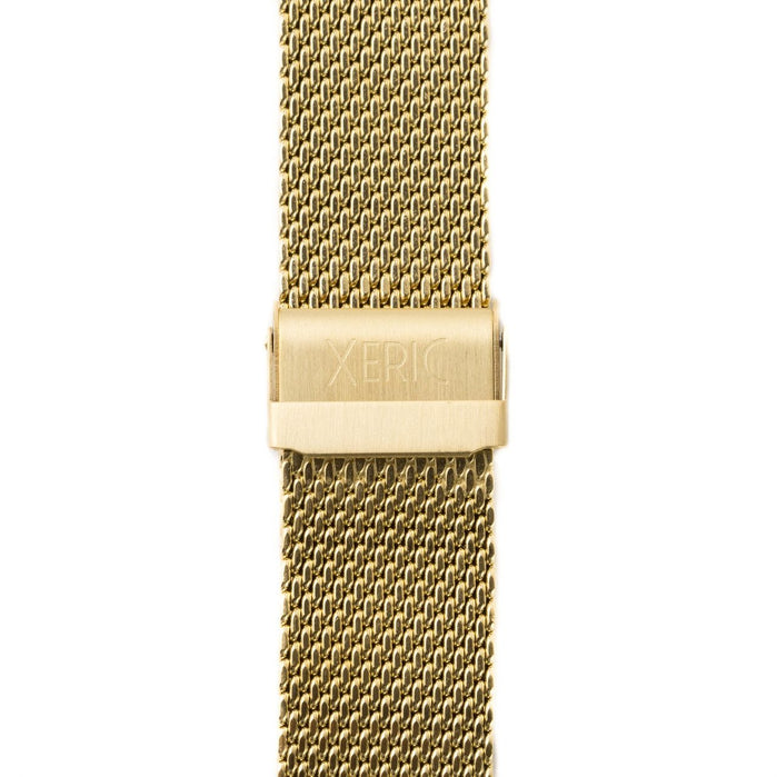 Xeric 22mm Gold PVD Plated Mesh Strap angled shot picture