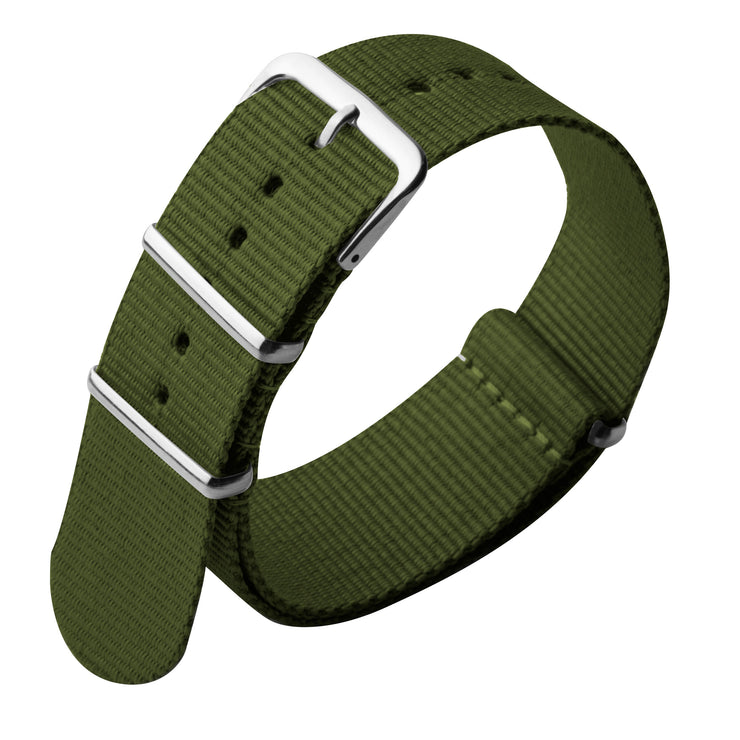 Xeric 22mm NATO Army Green with Silver Hardware