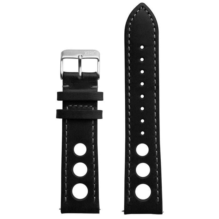 Xeric 22mm Horween Leather Rally Black Charcoal Strap Silver Buckle angled shot picture