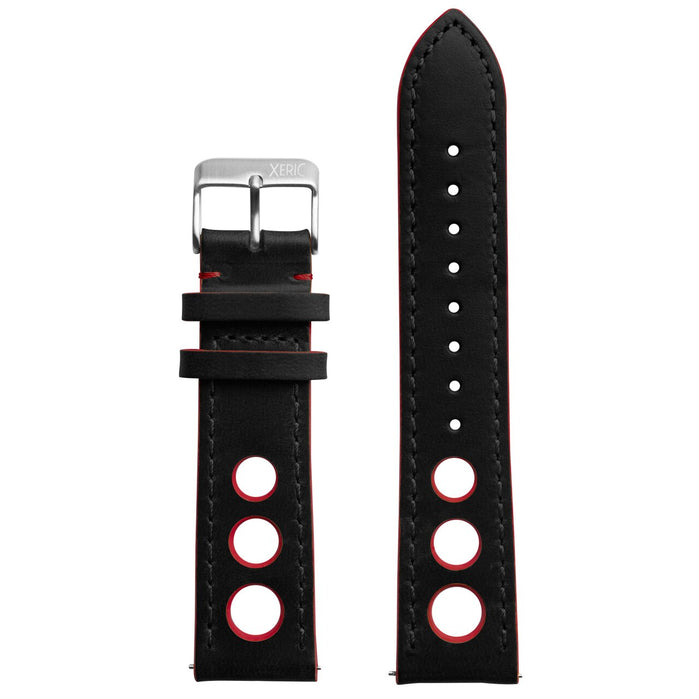Xeric 22mm Horween Leather Rally Black Red Strap Silver Buckle angled shot picture