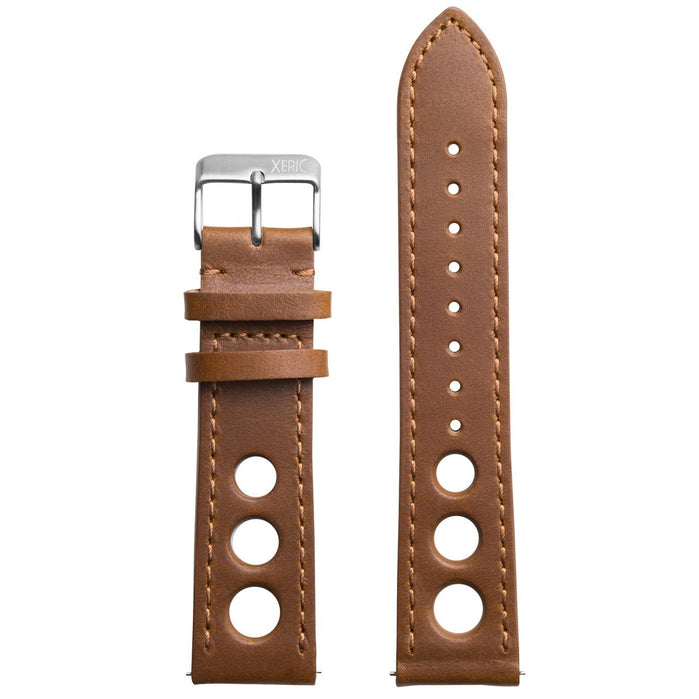 Xeric 24mm Horween Leather Rally Tan Black Strap Silver Buckle angled shot picture