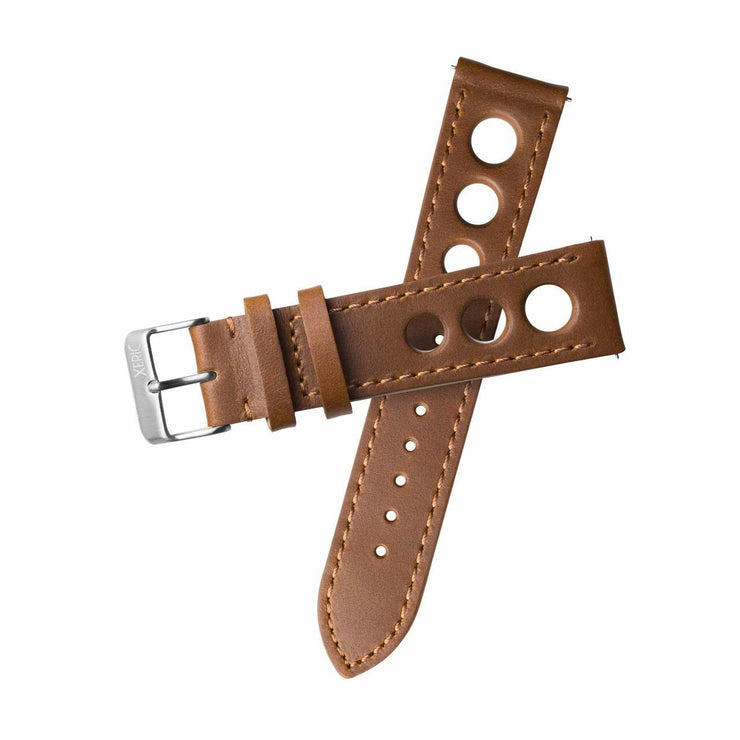 Xeric 20mm Horween Leather Rally Tan Black Strap Silver Buckle