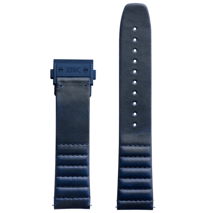 Xeric 22mm Ribbed Horween Leather Blue Strap with Blue Deployant Clasp angled shot picture