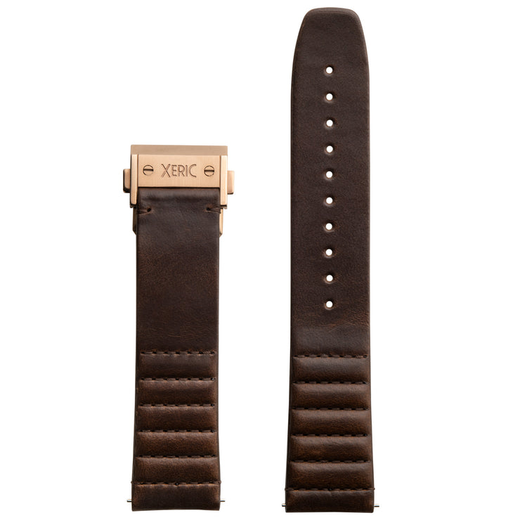 Xeric 22mm Ribbed Horween Leather Brown Strap with Rose Gold Deployant Clasp