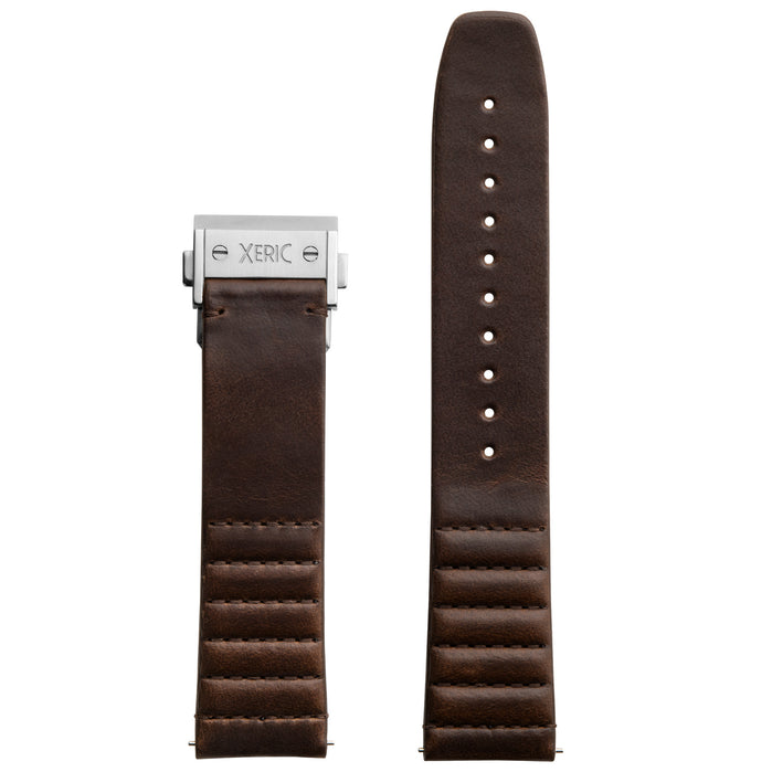 Xeric 22mm Ribbed Horween Leather Brown Strap with Silver Deployant Clasp angled shot picture