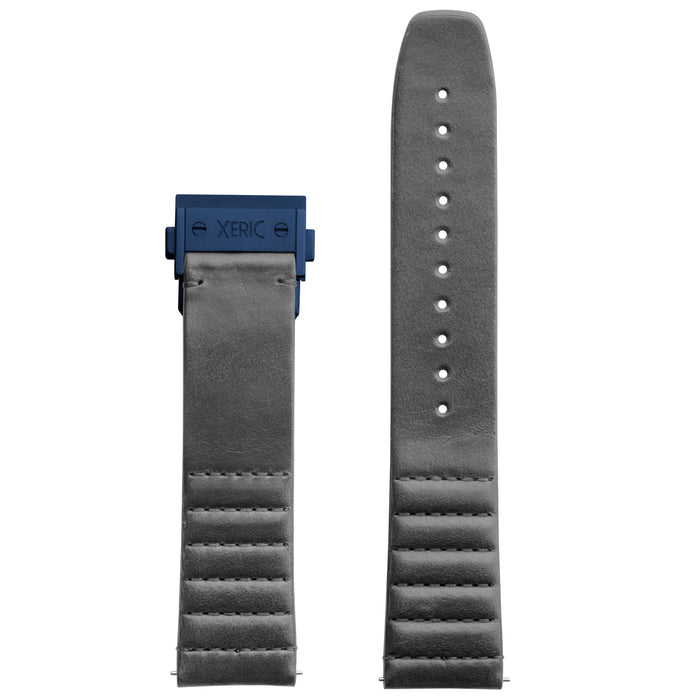 Xeric 22mm Ribbed Italian Leather Gray Strap with Blue Deployant Clasp angled shot picture