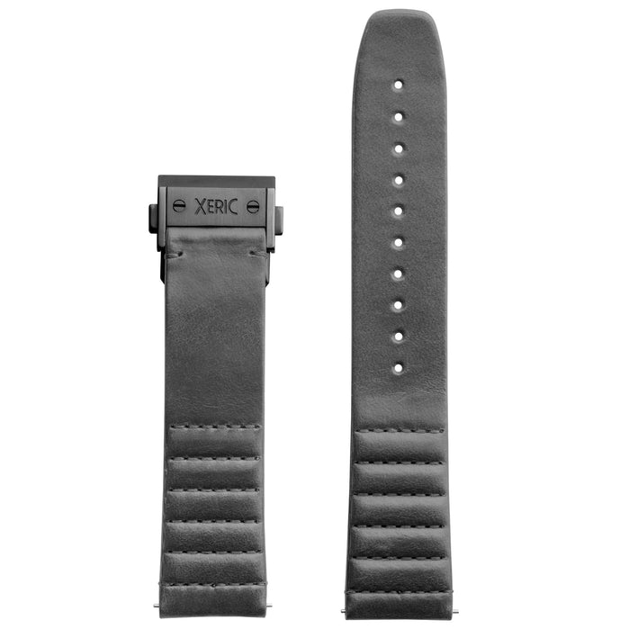 Xeric 22mm Ribbed Italian Leather Gray Strap with Gunmetal Deployant Clasp angled shot picture