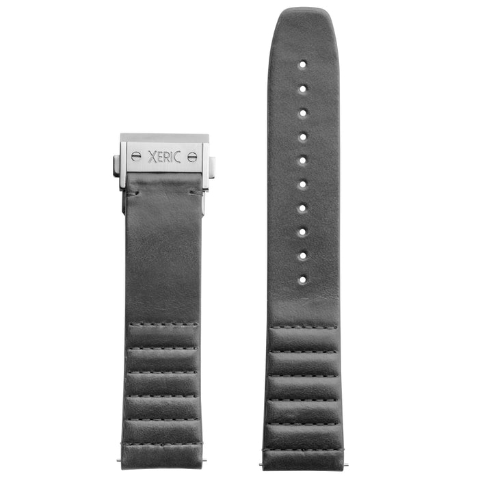 Xeric 22mm Ribbed Italian Leather Gray Strap with Silver Deployant Clasp angled shot picture