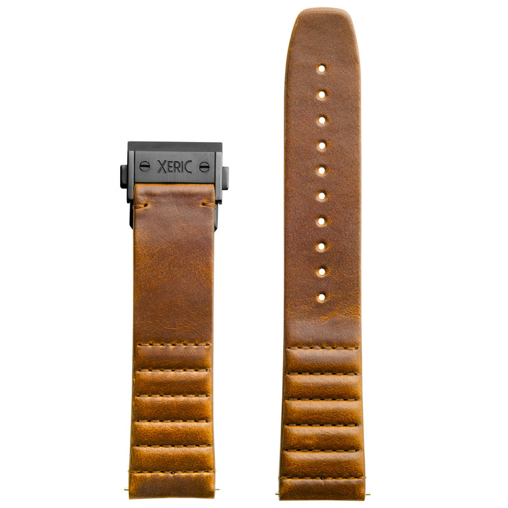 Xeric 22mm Ribbed Horween Leather Tan Strap with Gunmetal Deployant Clasp